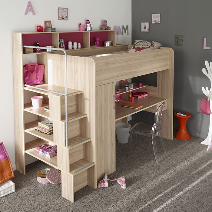 hochbett etagenbett 245x201x122cm kernbuche schreibtisch kinderbett bettino 2a ebay. Black Bedroom Furniture Sets. Home Design Ideas