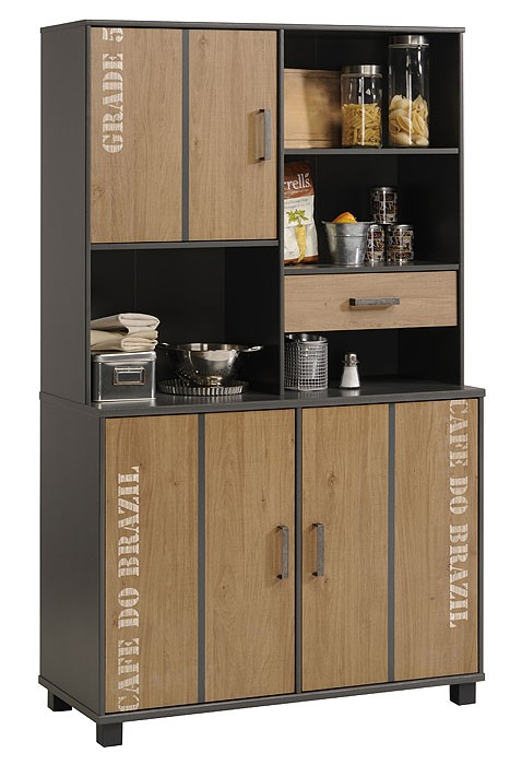 kuechenschrank kuechenbuffet 110x185x45cm grau eiche melamin schrank curtis. Black Bedroom Furniture Sets. Home Design Ideas