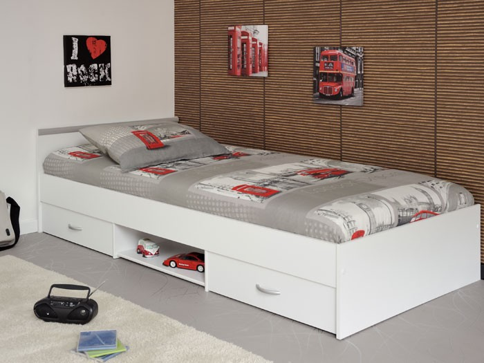 jugendbett leader 1 1 90x200cm bett mit 2 bettkasten weiss wohnbereiche schlafzimmer betten. Black Bedroom Furniture Sets. Home Design Ideas