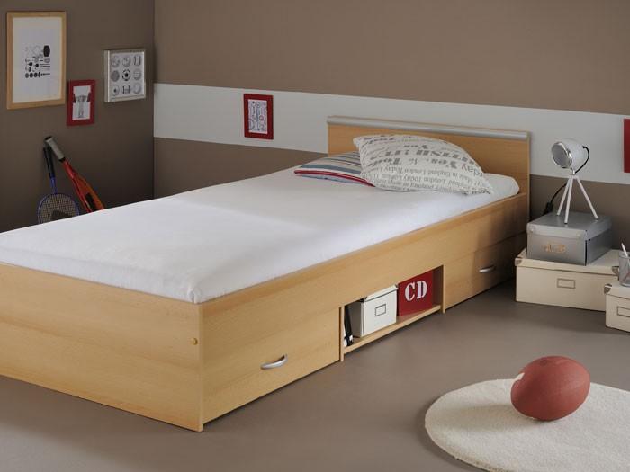 jugendbett bett 90x200 cm buche 2 bettk sten singlebett. Black Bedroom Furniture Sets. Home Design Ideas