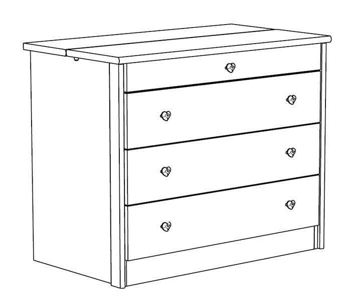 kommode 94x76x53cm weiss lila sideboard schubkasten. Black Bedroom Furniture Sets. Home Design Ideas