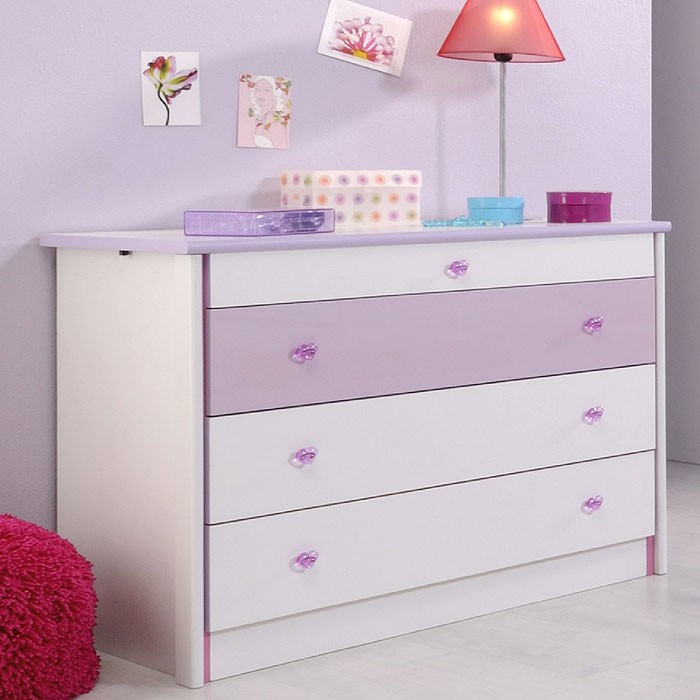 kommode 94x76x53cm weiss lila sideboard schubkasten schlafzimmerkommode janine 6 ebay. Black Bedroom Furniture Sets. Home Design Ideas
