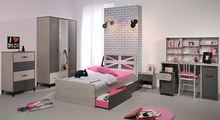 jugendzimmer kinderzimmer 7 teilig esche grau schrank. Black Bedroom Furniture Sets. Home Design Ideas