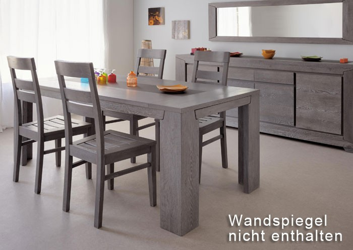 Esszimmer 6 teilig eiche grau 1x esstisch 4x stuhl 1x - Stuhle esszimmer grau ...