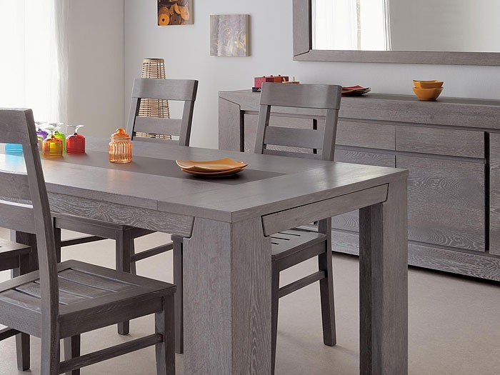 esszimmer heros 2 eiche grau 1x esstisch 1x sideboard. Black Bedroom Furniture Sets. Home Design Ideas