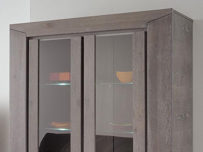 vitrine highboard eiche grau 126x188x44cm esszimmerschrank glasvitrine heros 5 ebay. Black Bedroom Furniture Sets. Home Design Ideas