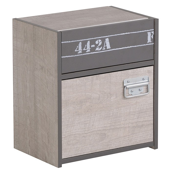 nachttisch nachtschrank fabien 5 40x46x28cm esche grau. Black Bedroom Furniture Sets. Home Design Ideas