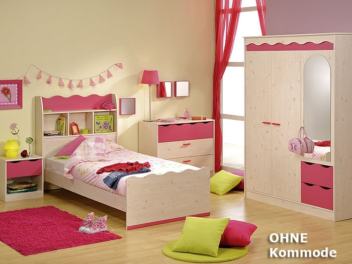 Kinderzimmer lotta 1 kiefer nb pink schrank bett for Kinderzimmer lotta