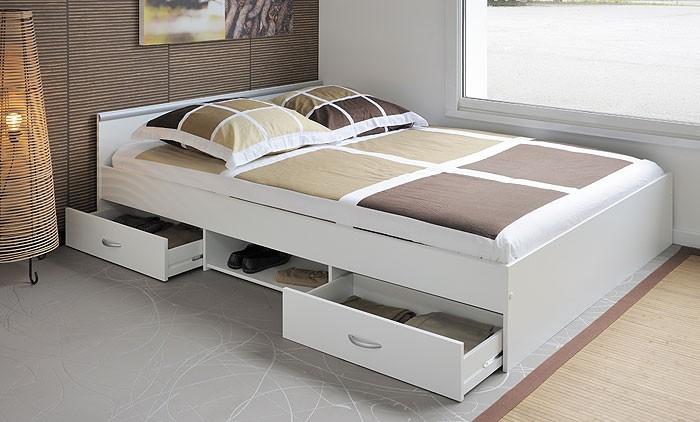 jugendbett leader 3 1 140x200cm bett mit 2 bettkasten weiss wohnbereiche schlafzimmer betten. Black Bedroom Furniture Sets. Home Design Ideas