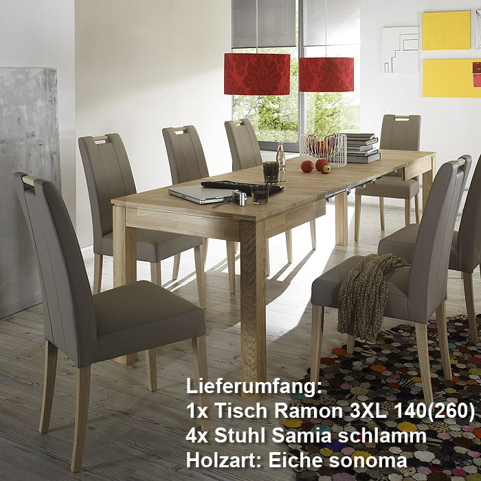 essgruppe tischgruppe w hlen esstisch ramon eiche sonoma stuhl samia schlamm ebay. Black Bedroom Furniture Sets. Home Design Ideas