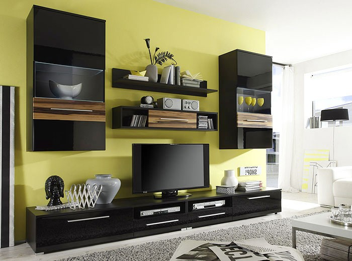 wohnwand schwarz hochglanz 280x202x47cm schrankwand wohnzimmer tv m bel lukas ebay. Black Bedroom Furniture Sets. Home Design Ideas
