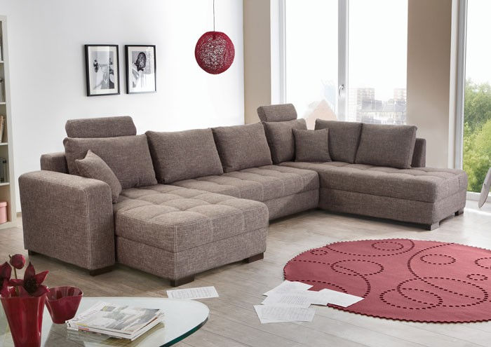 wohnlandschaft antigua grau braun 357x222x162cm bettfunktion sofa polsterecke ebay. Black Bedroom Furniture Sets. Home Design Ideas