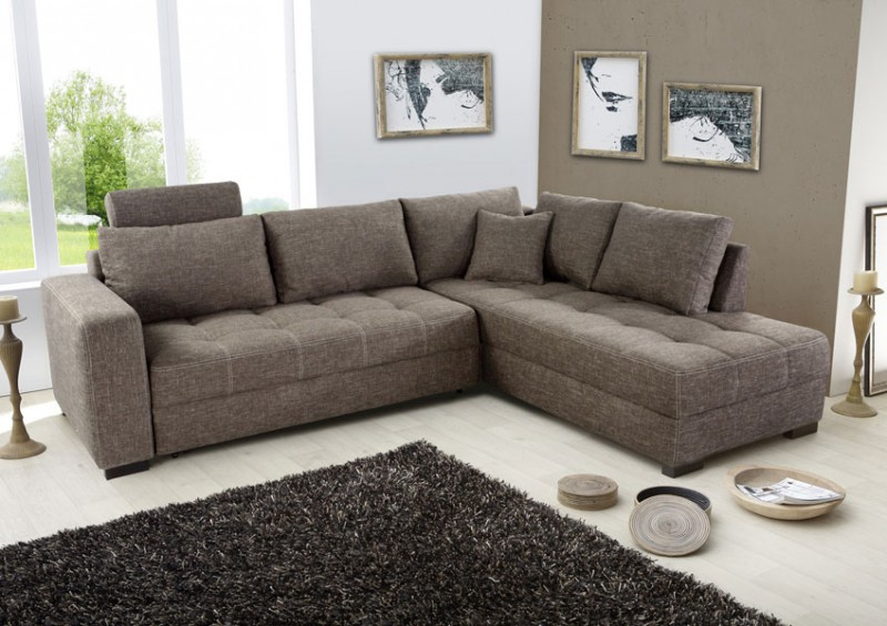 Polsterecke aurum braun 267x221 bettfunktion sofa couch for Eckcouch design