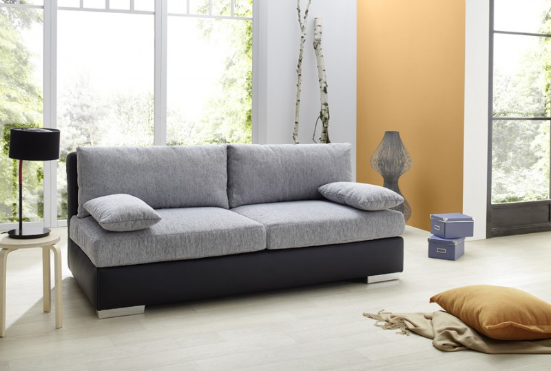 boxspring schlafsofa somerset hellgrau schwarz 202x106cm. Black Bedroom Furniture Sets. Home Design Ideas