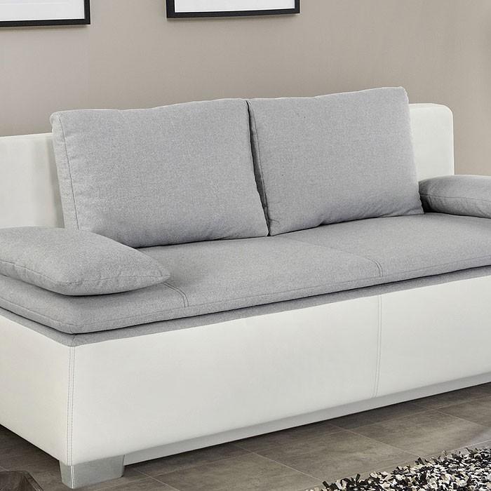 schlafsofa couch duana 202x96cm hellgrau weiss. Black Bedroom Furniture Sets. Home Design Ideas