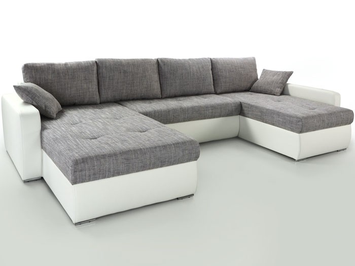 wohnlandschaft esther grau weiss 335x201x180cm bettfunktion couch polsterecke ebay. Black Bedroom Furniture Sets. Home Design Ideas
