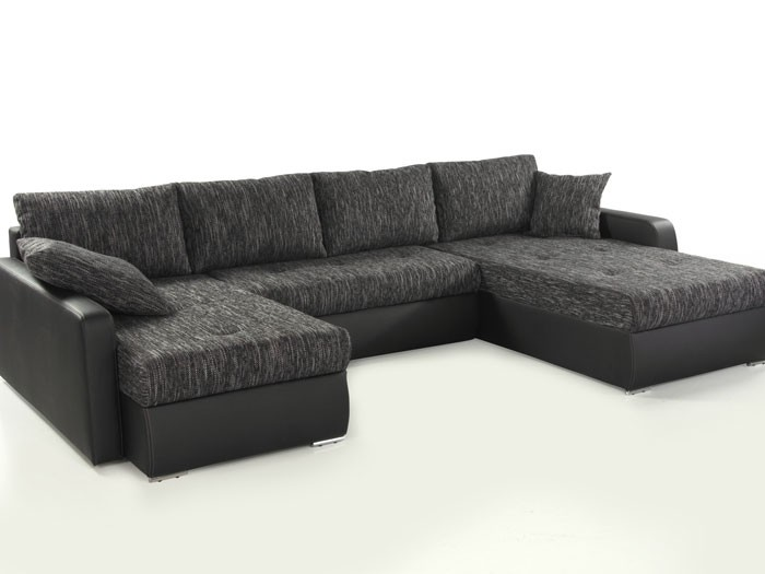 wohnlandschaft esther anthrazit schwarz 335x201x180cm bettfunktion couch sofa ebay. Black Bedroom Furniture Sets. Home Design Ideas