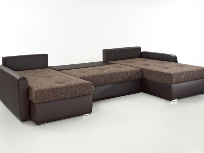 Wohnlandschaft esther braun 335x201x180cm bettfunktion for Couch bettfunktion