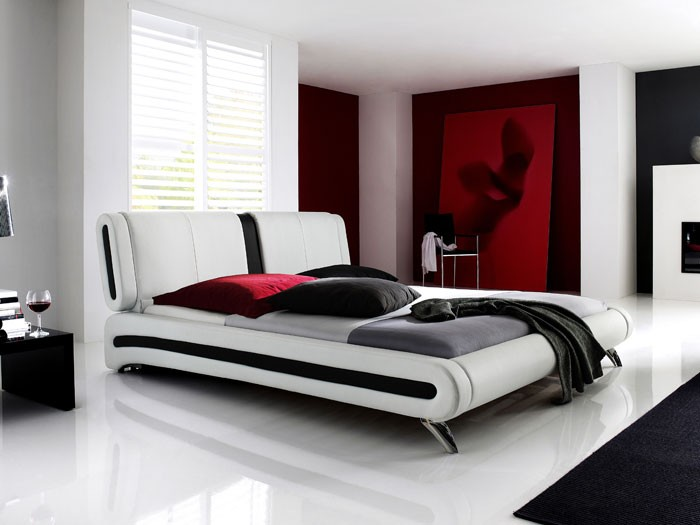 polsterbett weiss bett 140x200 bettgestell kunst lederbett singlebett malin. Black Bedroom Furniture Sets. Home Design Ideas