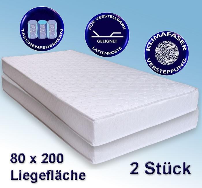 2 matratzen avance 80x200cm taschenfederkern 2er set h rtegrad 2 wohnbereiche schlafzimmer. Black Bedroom Furniture Sets. Home Design Ideas
