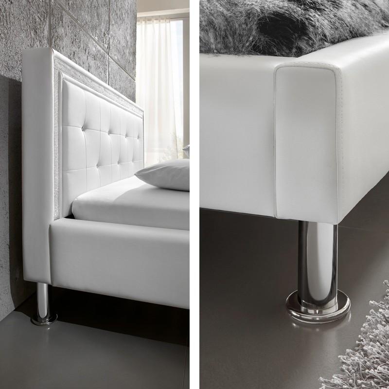 polsterbett dave 140x200 schwarz lattenrost matratze strassband singlebett ebay. Black Bedroom Furniture Sets. Home Design Ideas
