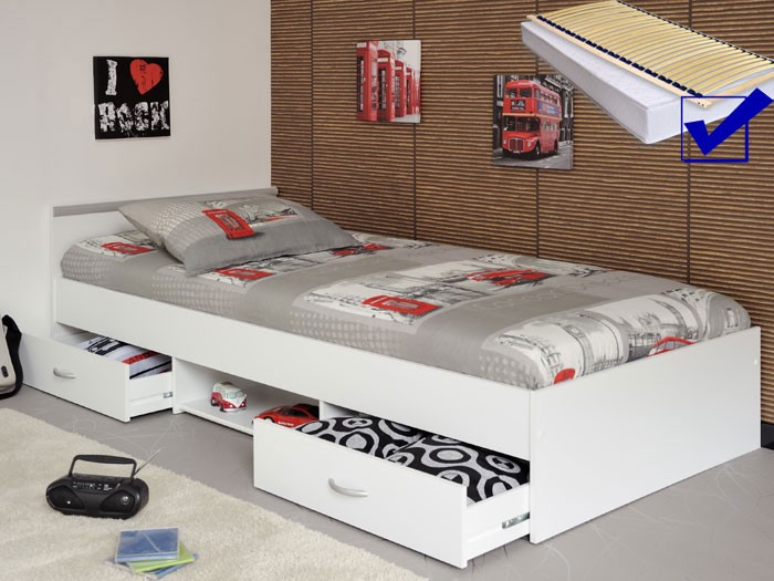 jugendbett bett 90x200 weiss lattenrost matratze bettkasten leader 1 1. Black Bedroom Furniture Sets. Home Design Ideas