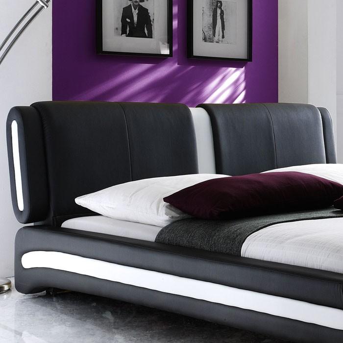 Polsterbett schwarz komplett Bett 140x200 + Lattenrost + Matratze ...
