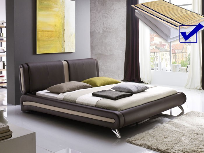 polsterbett komplett malin bett 180x200 braun lattenrost. Black Bedroom Furniture Sets. Home Design Ideas