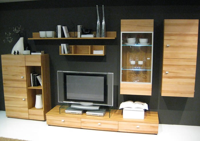 schrankwand wohnwand kernbuche massiv 342x182x50cm wohnzimmerschrank flynn ebay. Black Bedroom Furniture Sets. Home Design Ideas