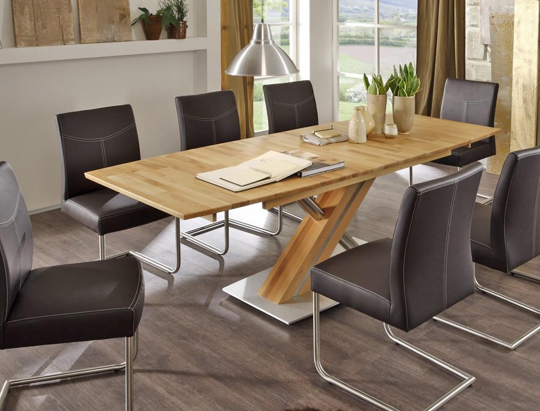 hochwertiger s ulentisch esstisch bootsform x form s ule c holztisch ataro. Black Bedroom Furniture Sets. Home Design Ideas