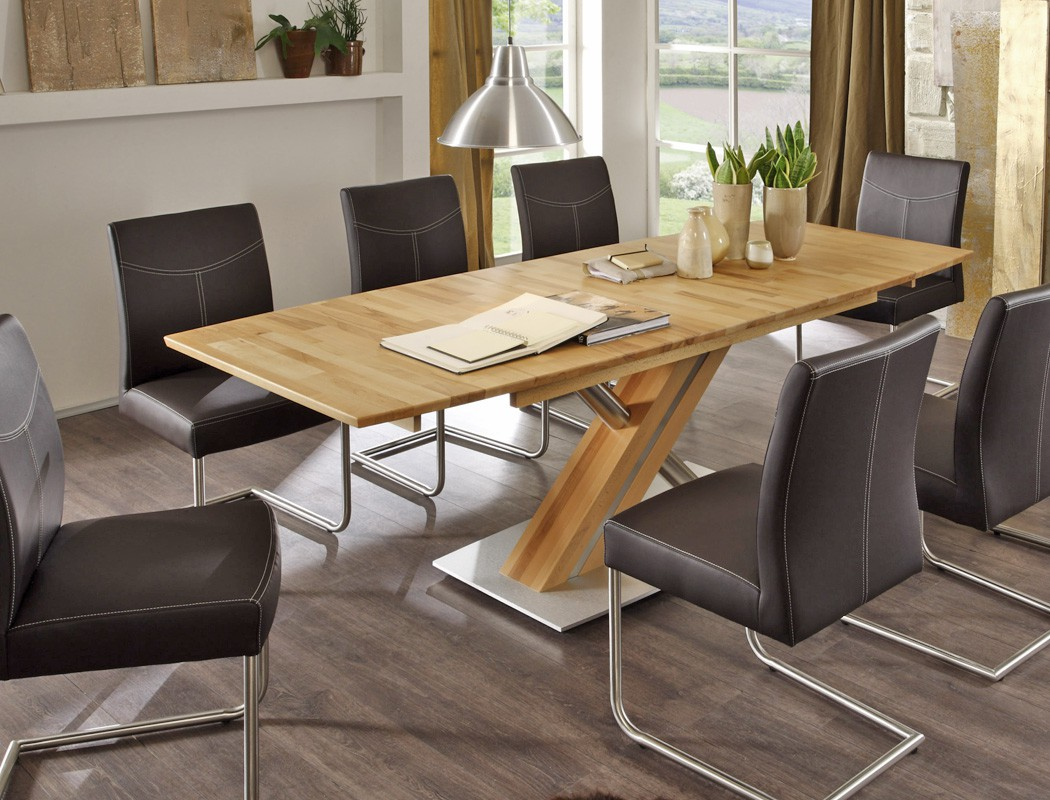 hochwertiger Säulentisch Esstisch ausziehbar bootsform ...