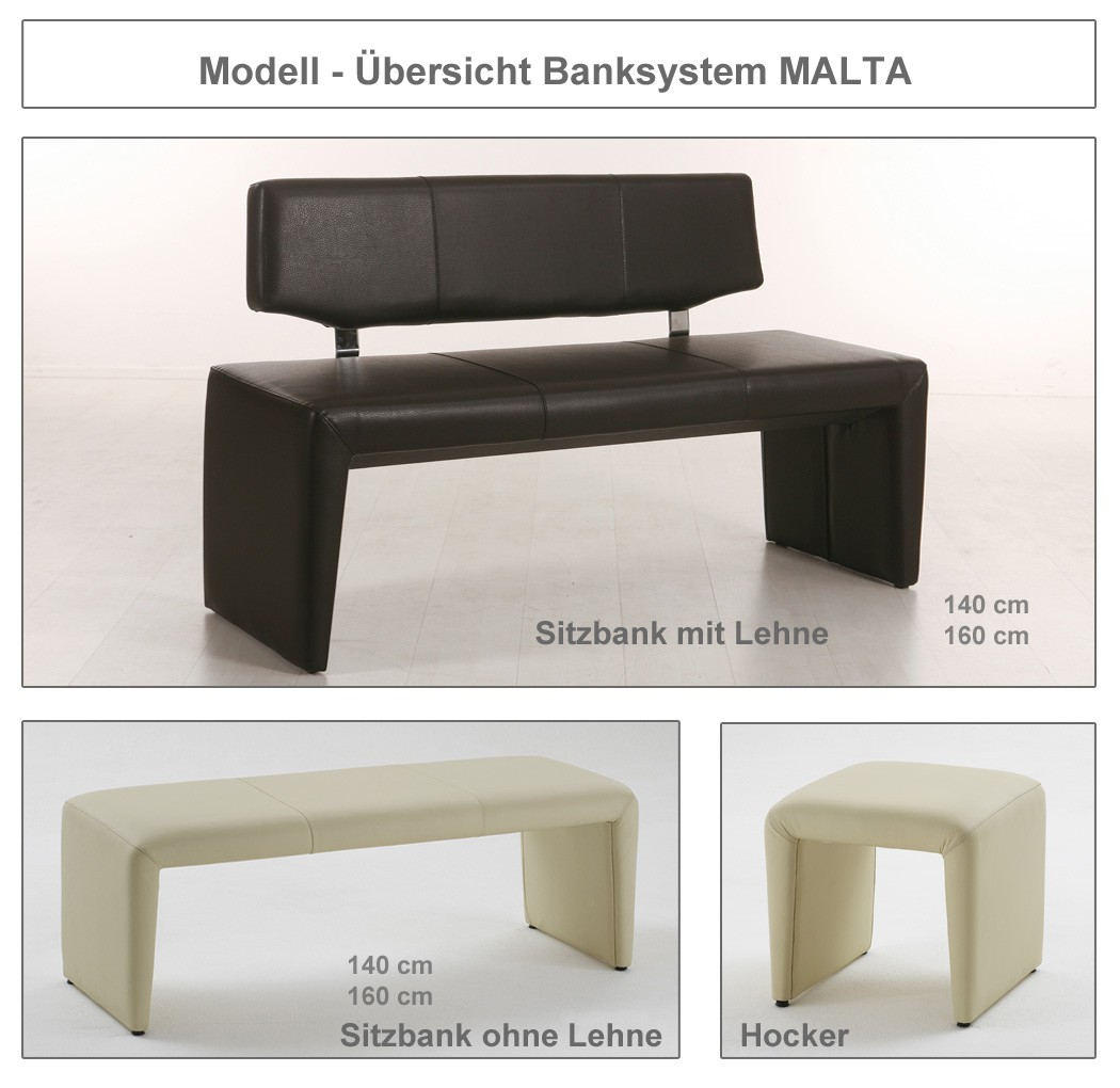 hochwertige bank mit lehne 140cm 160cm sitzbank polsterbank varianten malta ebay. Black Bedroom Furniture Sets. Home Design Ideas
