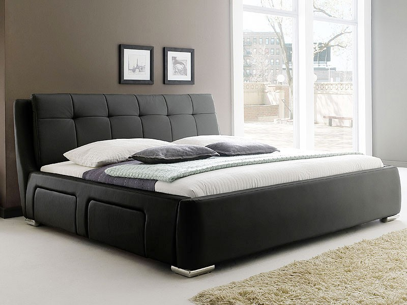 polsterbett schwarz bett 180x200 bettgestell 4x schubkasten doppelbett alvaro ebay. Black Bedroom Furniture Sets. Home Design Ideas