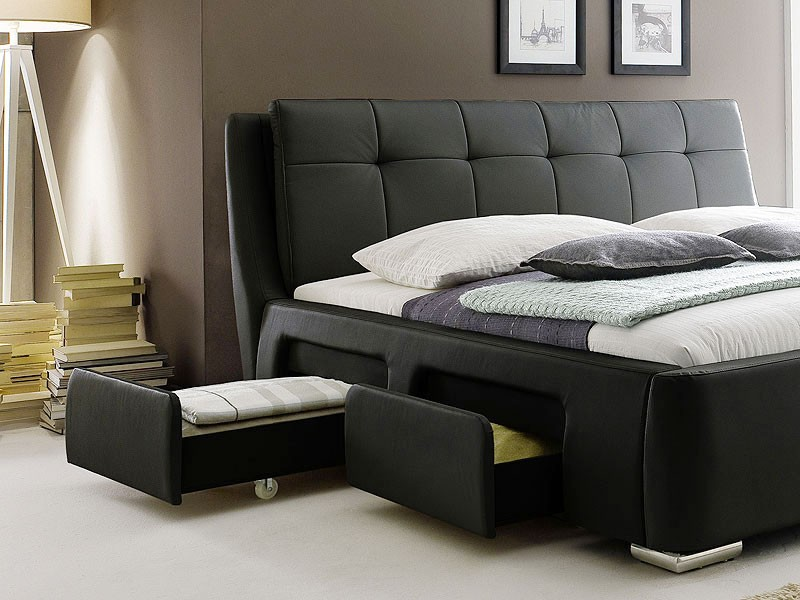polsterbett schwarz bett 180x200 bettgestell 4x schubkasten doppelbett. Black Bedroom Furniture Sets. Home Design Ideas