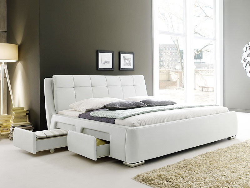 polsterbett weiss bett 180x200 bettgestell 4x schubkasten doppelbett alvaro ebay. Black Bedroom Furniture Sets. Home Design Ideas