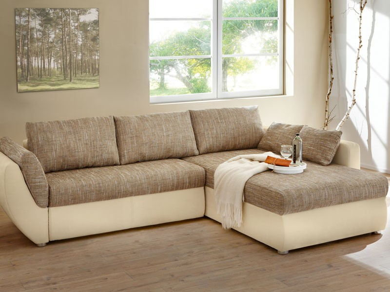 Ecksofa couch tifon 272x200 hellbraun natur bettfunktion for Ecksofa 150 x 200