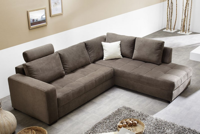 Polsterecke Aurum braun 267x221cm Bettfunktion Sofa Couch ...