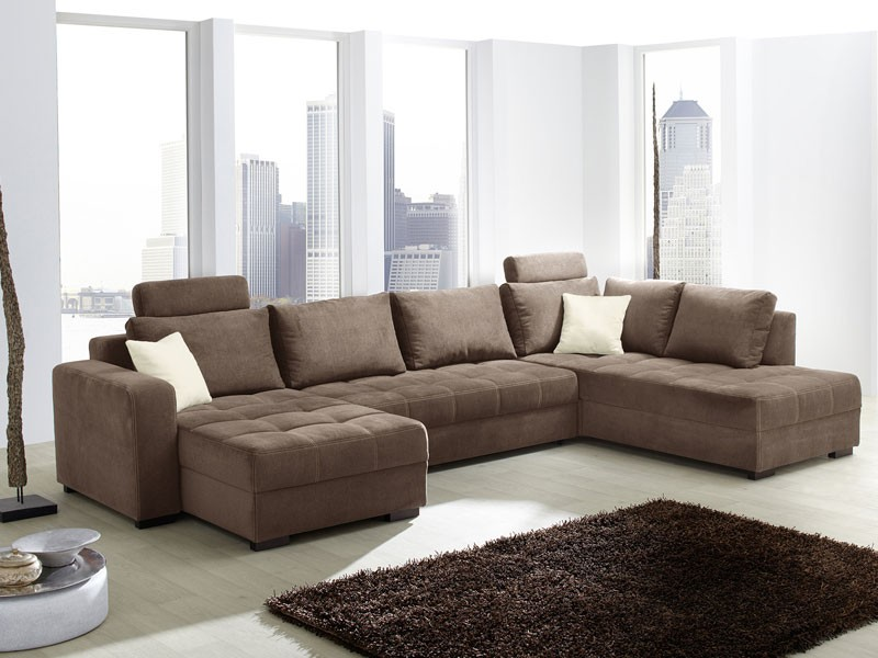 wohnlandschaft antigua 357x222x162cm mikrofaser braun sofa couch polsterecke ebay. Black Bedroom Furniture Sets. Home Design Ideas