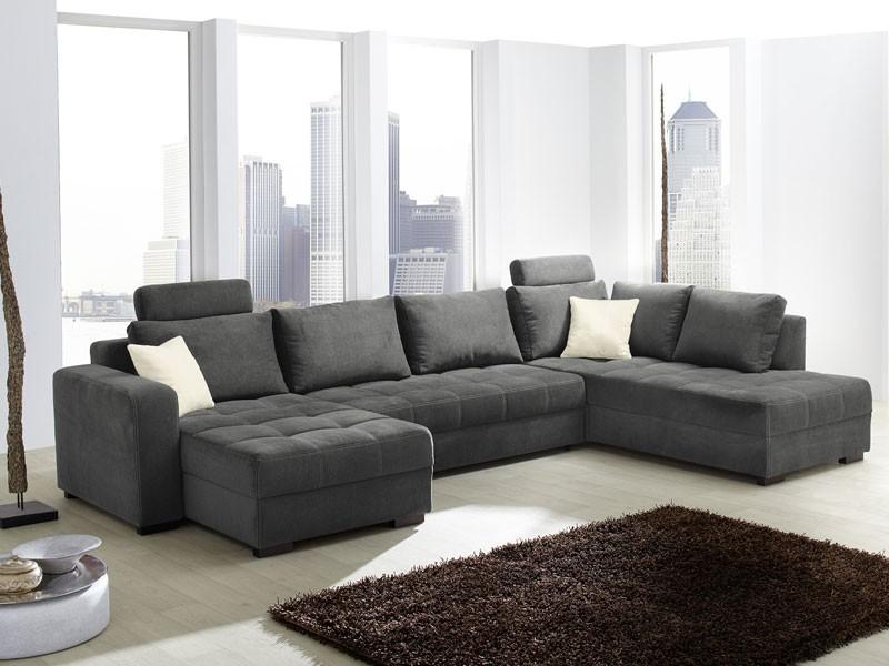 Wohnlandschaft antigua 357x222cm mikrofaser grau sofa couch wohnbereiche wohnzimmer sofa Sofa wohnlandschaften