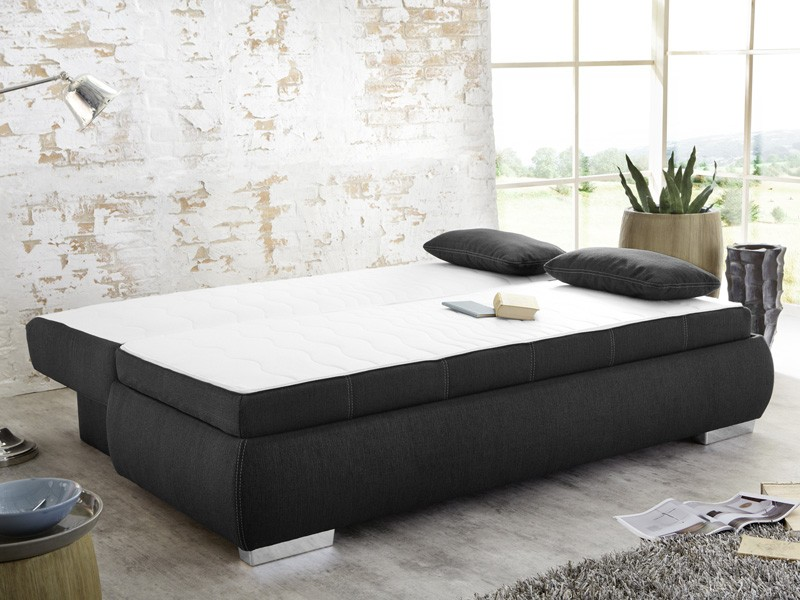 dauerschl fer schlafsofa 210x112cm dunkel grau sofa boxspring doppelliege merlin ebay. Black Bedroom Furniture Sets. Home Design Ideas