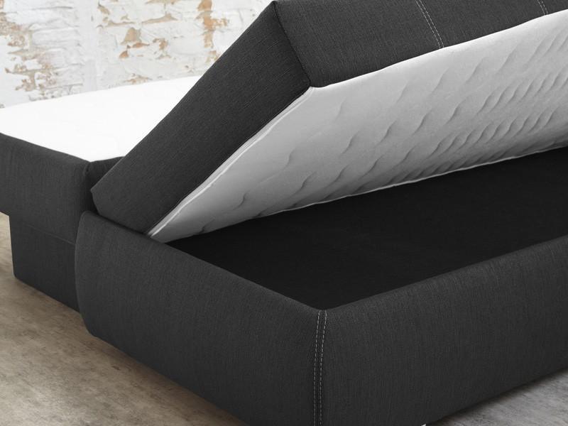 dauerschl fer schlafsofa merlin 210x112cm dunkel grau sofa boxspring wohnbereiche wohnzimmer. Black Bedroom Furniture Sets. Home Design Ideas