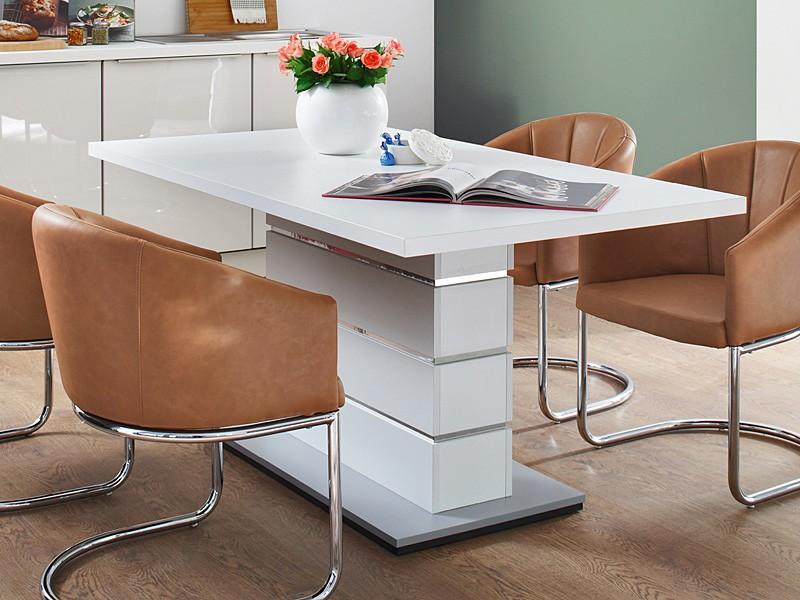 esstisch s ulentisch weiss 160x90x76cm abs chrom eckbanktisch tisch raiko ebay. Black Bedroom Furniture Sets. Home Design Ideas