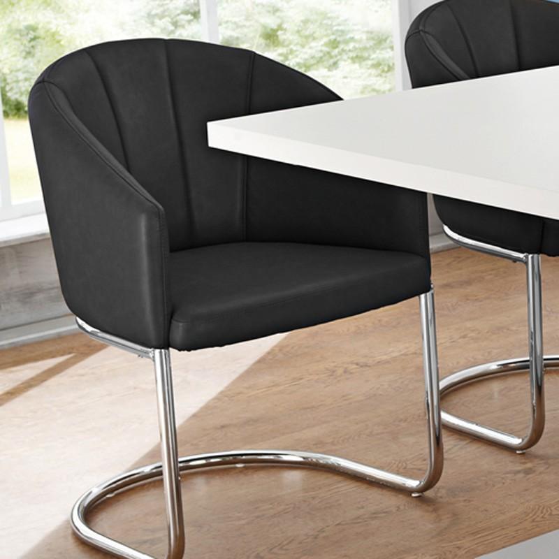 freischwinger st hle schwarz chrom schwingstuhl schwingsessel schwinger cleo ebay. Black Bedroom Furniture Sets. Home Design Ideas