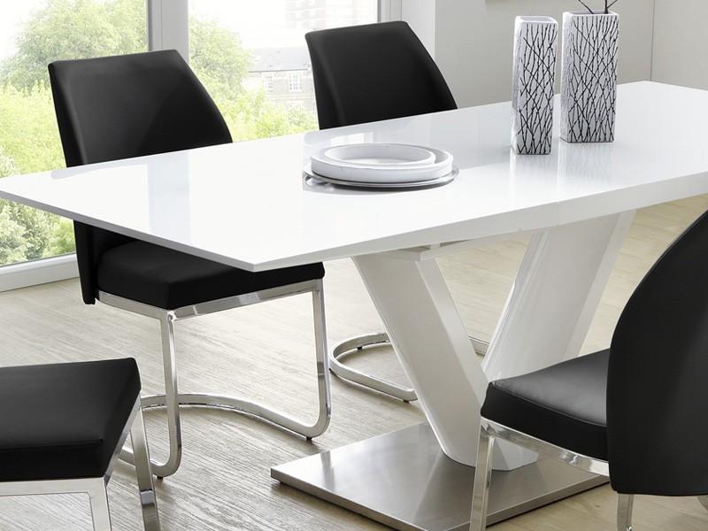 essgruppe tischgruppe tisch wei hochglanz 6 schwingstuhl schwarz vasco pamela ebay. Black Bedroom Furniture Sets. Home Design Ideas