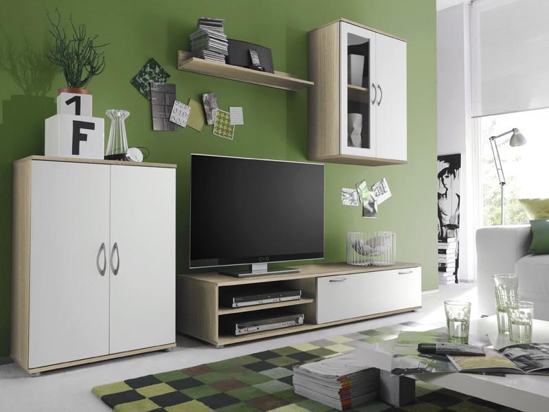 wohnwand eiche sonoma weiss 227x175x39cm schrankwand. Black Bedroom Furniture Sets. Home Design Ideas