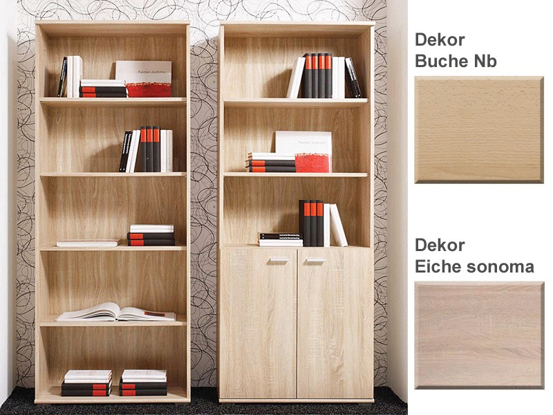 regal 71x180x35cm mit ohne t r varianten b cherregal wandregal standregal sora. Black Bedroom Furniture Sets. Home Design Ideas