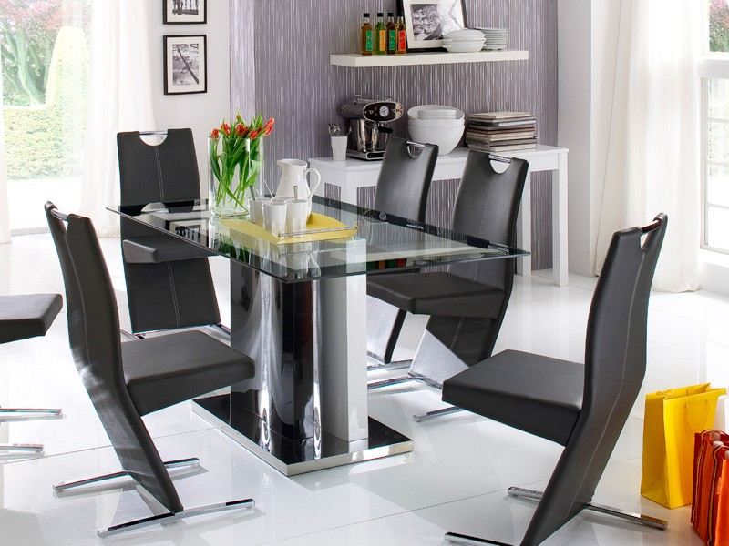 glastisch esstisch 160x90x75cm hochglanz edelstahl s ulentisch tisch ikarus. Black Bedroom Furniture Sets. Home Design Ideas