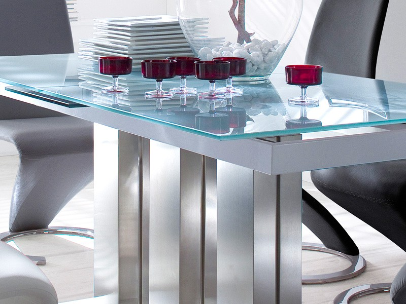 glass table extendable dining table white various sizes column table mason. Black Bedroom Furniture Sets. Home Design Ideas