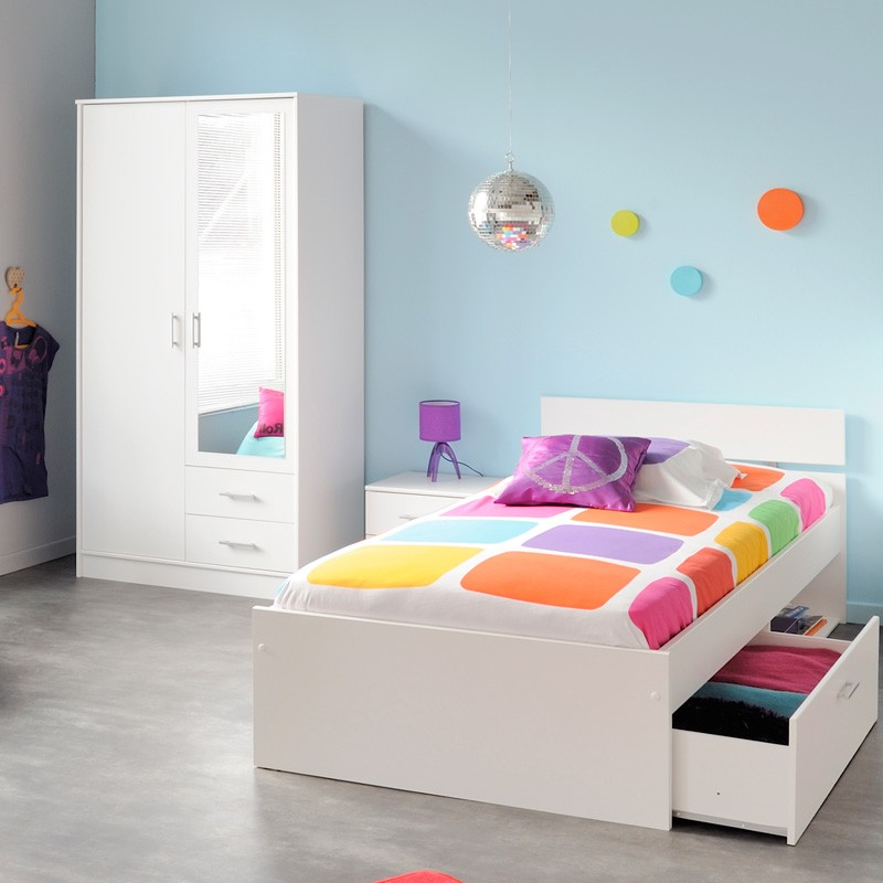 kinderzimmer komplett wei jugendzimmer 3 teilig schrank bett nako inaco 154 ebay. Black Bedroom Furniture Sets. Home Design Ideas
