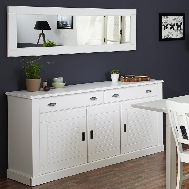Landhaus Möbel Vicco 7, Esszimmer 9 Teilig, Weiß. Sideboard + Esstisch +  Stühle + Wandspiegel